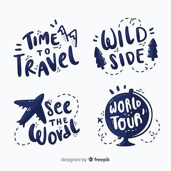 Paquete de insignias de letras de viaje.