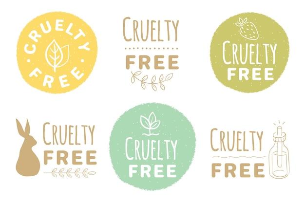 Paquete de insignias libres de crueldad dibujado a mano