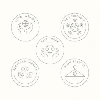 Paquete de insignias de moda lenta de diseño plano