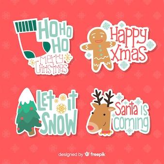 Paquete de insignias navideñas de diseño plano