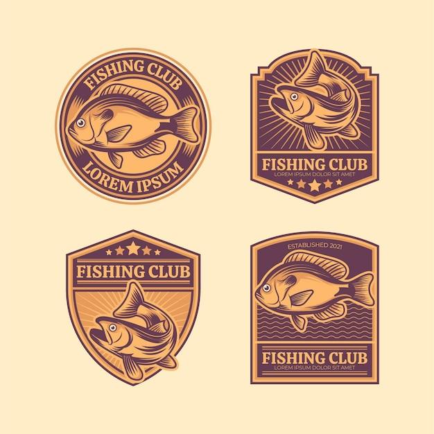 Paquete de insignias de pesca con detalles vintage Vector Premium