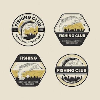 Paquete de insignias de pesca retro