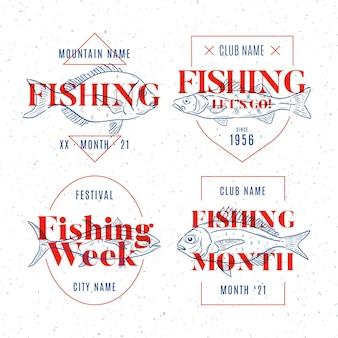 Paquete de insignias de pesca vintage detallado