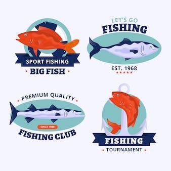 Paquete de insignias de pesca vintage