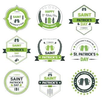 Paquete de insignias planas del día de san patricio