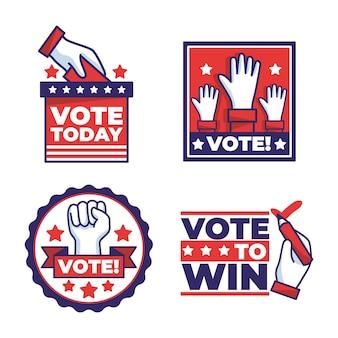 Paquete de insignias de votación de estados unidos
