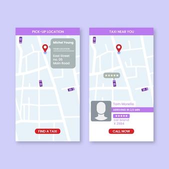 Paquete de interfaz de la aplicación de taxi