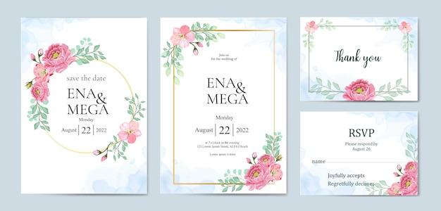 Paquete de invitación de boda con flores hermosas hojas