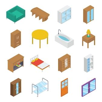 Paquete isométrico de interiores de casas