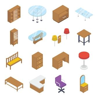 Paquete isométrico de muebles para el hogar