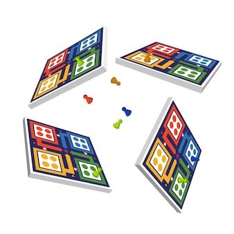 Paquete de juego de ludo desde diferentes perspectivas