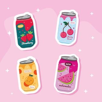 Paquete de jugos latas de frutas con personajes kawaii