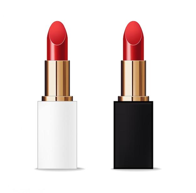 Paquete de lápiz labial realista, fondo de belleza y cosmética de maquillaje