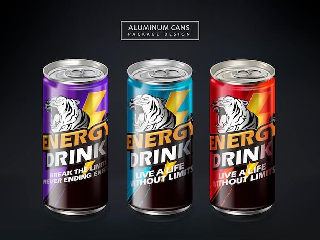 Paquete de latas de metal energy drk, fondo gris oscuro