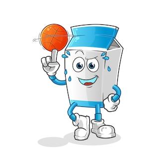 Paquete de leche jugando baloncesto mascota de dibujos animados