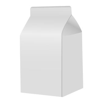 Paquete de leche libro blanco en blanco.