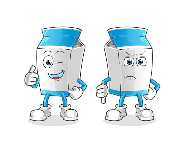 Paquete de leche con los pulgares hacia arriba y hacia abajo mascota de dibujos animados