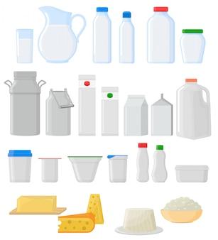 Paquete de leche vector frasco de vidrio vacío conjunto de cristalería