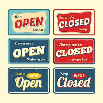 Paquete de letreros abiertos y cerrados vintage