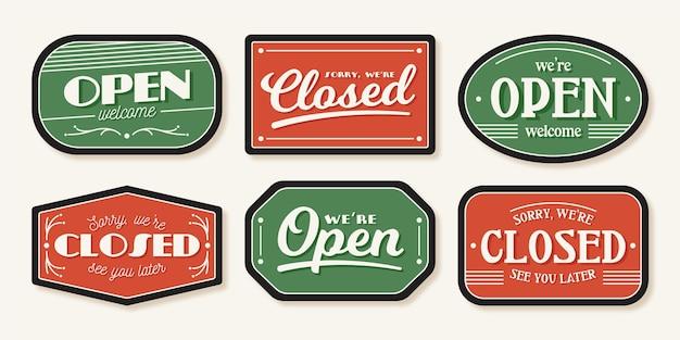 Paquete de letreros abiertos y cerrados vector gratuito