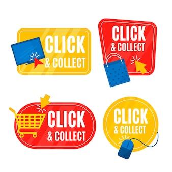 Paquete de letreros de clic y recogida detallado