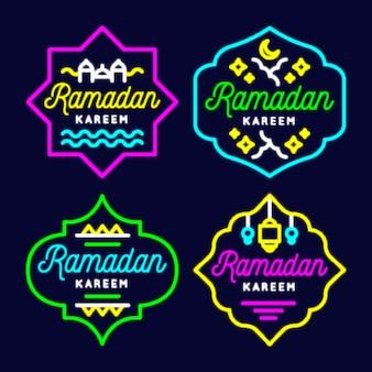 Paquete de letreros de neón de ramadán