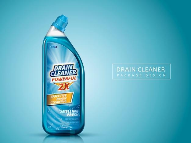 Paquete de limpiador dra, fondo azul aislado