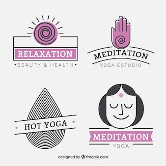 Paquete lindo centro de yoga logotipos en estilo lineal