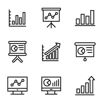 Paquete de línea de infografía empresarial