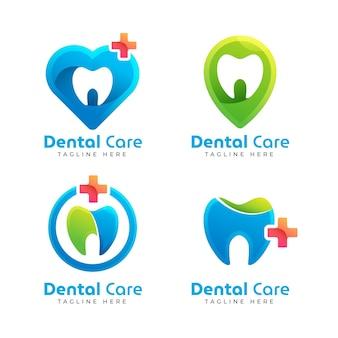 Paquete de logo dental degradado