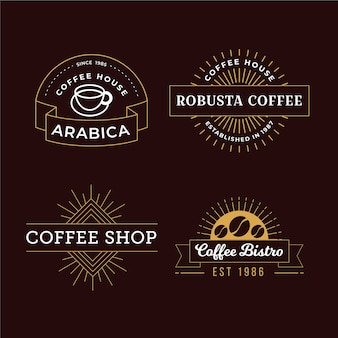 Paquete de logo retro de cafetería