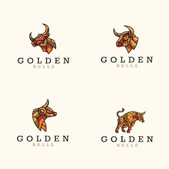 Paquete de logo de toros dorados