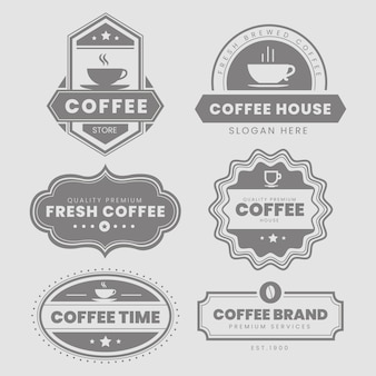 Paquete de logo vintage de cafetería