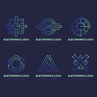 Paquete de logos de electrónica degradados