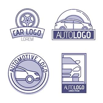 Paquete de logotipo de coche de diseño plano