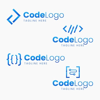 Paquete de logotipo de código de diseño plano