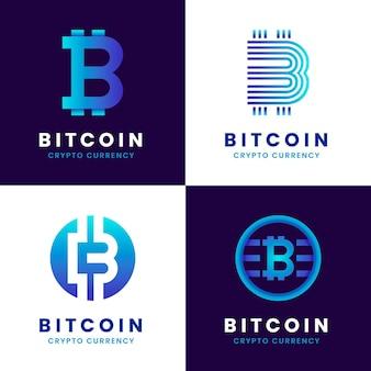 Paquete de logotipo degradado de bitcoin