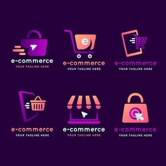 Paquete de logotipo degradado de comercio electrónico
