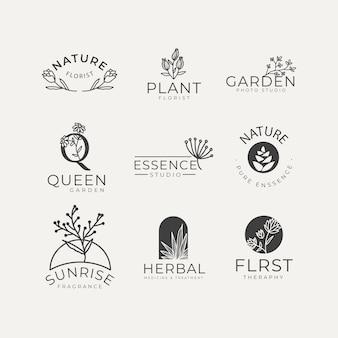 Paquete de logotipo de empresa natural en estilo minimalista