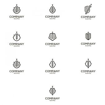 Paquete de logotipo de espada y escudo