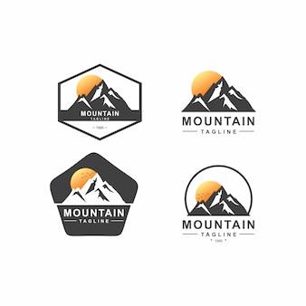 Paquete de logotipo de insignia de montaña