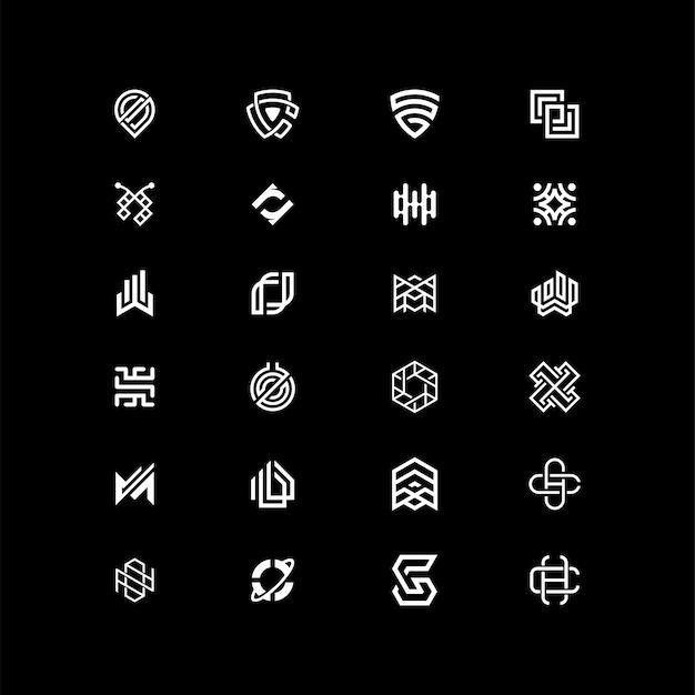 Paquete de logotipo inspirador en forma abstracta