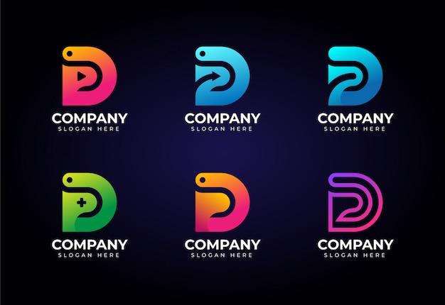 Paquete de logotipo de letra d en concepto múltiple