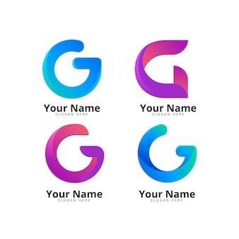 Paquete de logotipo de letra g degradado