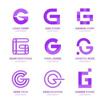 Paquete de logotipo de letra g de diseño plano
