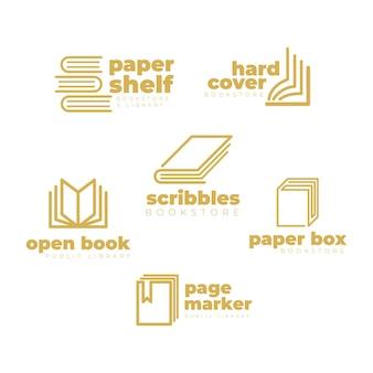 Paquete de logotipo de libro de diseño plano
