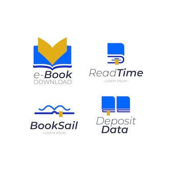 Paquete de logotipo de libro plano