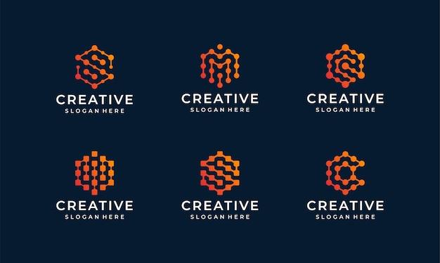 Paquete de logotipo de línea de internet