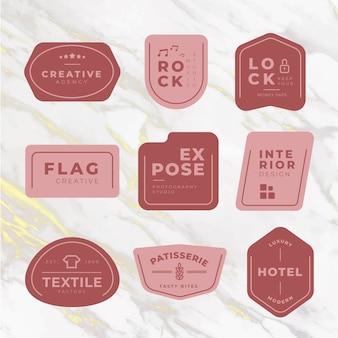 Paquete de logotipo mínimo sobre fondo de mármol