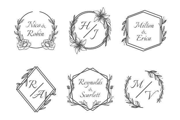 Paquete de logotipo de monograma de boda dibujado a mano